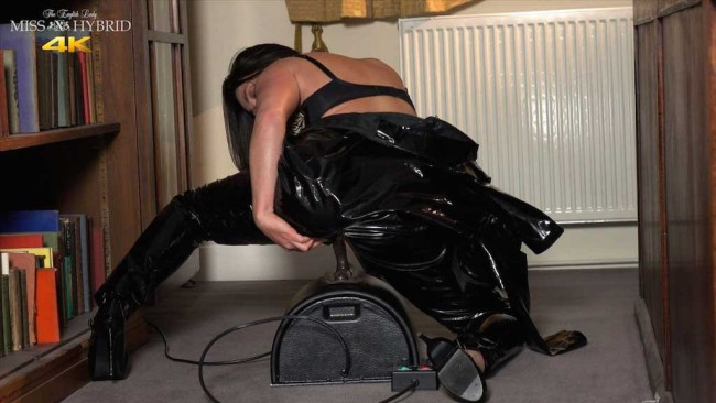 Miss Hybrid latex Sybian ride in easy access zips catsuit.