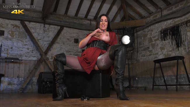 Miss Hybrid jerks off her spectator in the dungeon.