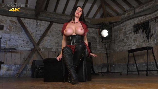 Miss Hybrid sexy leather boots and corset.